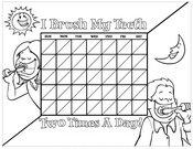 Kids Brushing Chart B&W